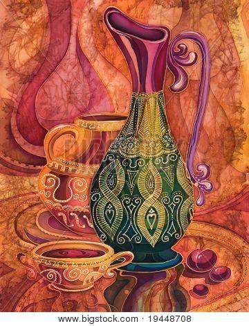 jarras y vasos decoración con adornos orientales, batik