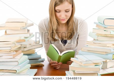 Student Teenager Woman Read Book