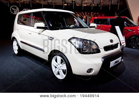 Moscow, Russia - August 25:  White Car Kia Soul At Moscow International Exhibition Interauto On Augu