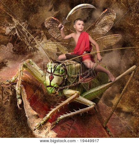 boy warrior riding on grasshoppers