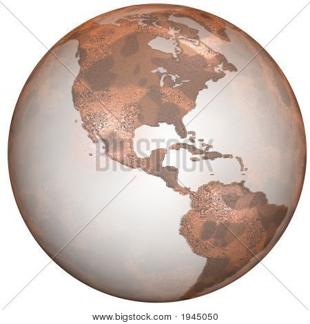 Textured Red Planet Earth On White