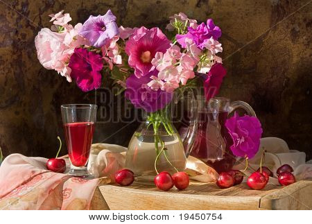 Still life with wine red