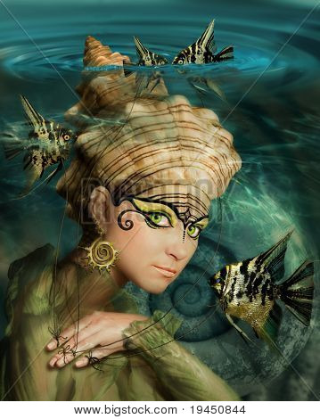 mermaid with a crown of shells and fish Angelfish