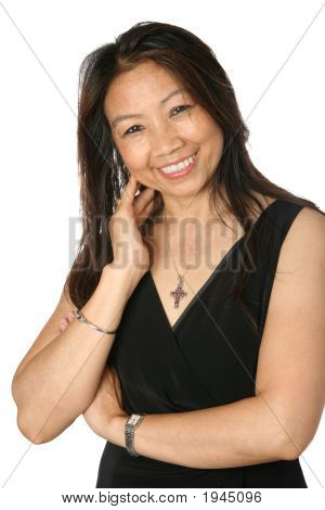 Happy Mature Thai Femaleon White