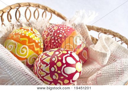 Easter eggs traditionally painted with wax and dye