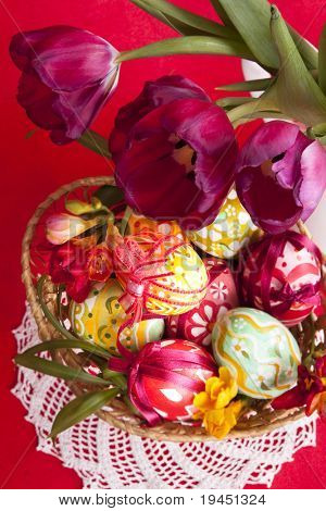 Hand painted easter eggs and flower  tilips