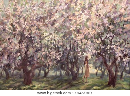 blossoming spring garden, painting on canvas