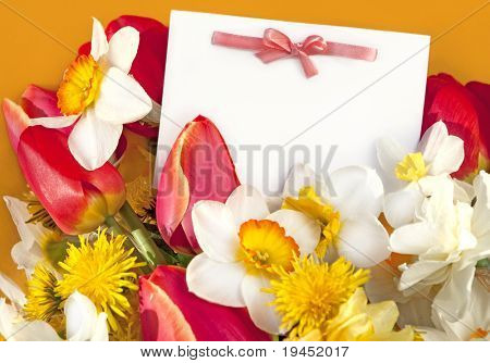 postcard and spring flowers
