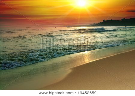 tranquil beach sunset