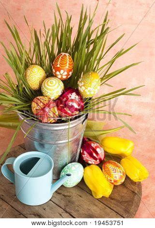 Hand painted Easter eggs and green grass