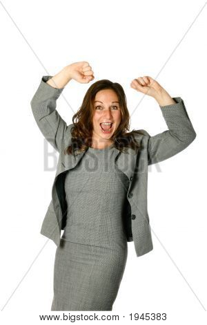 Businesswoman Showing Jubilation Both Arms Up High In The Air Isolated