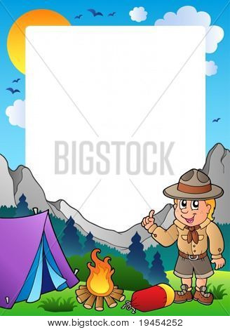 Summer frame with scout theme 1 - vector illustration.