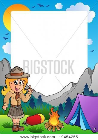 Summer frame with scout theme 2 - vector illustration.