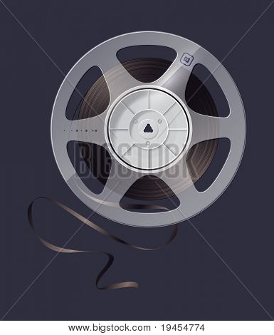 icon reel of magnetic tape recording. Old musical equipment