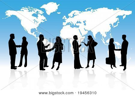 Business people are standing in front of a map, conceptual illustration