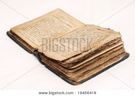 Old bible on white background
