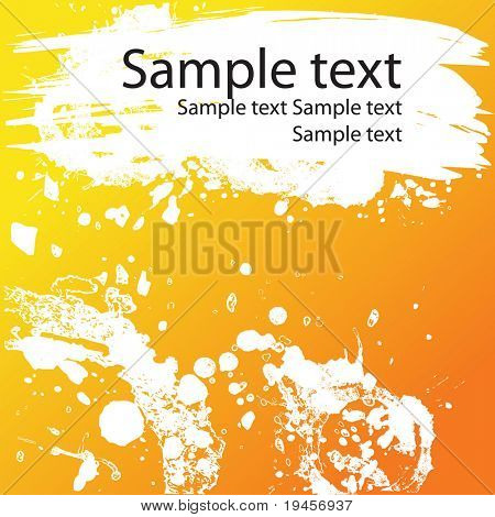 Abstract orange vector background with stains, blots, and ink splash