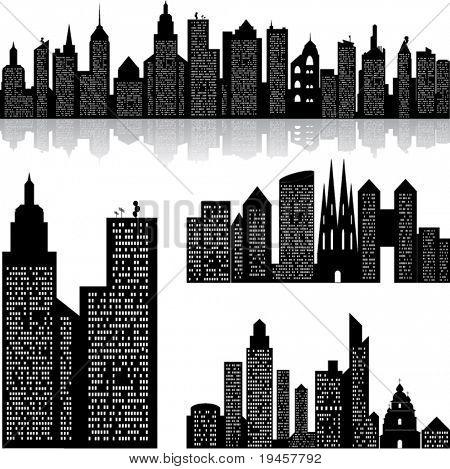Fundo de vector de skyline cidade