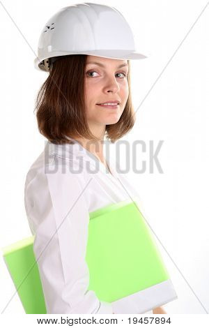 Female engineering isolated over white background
