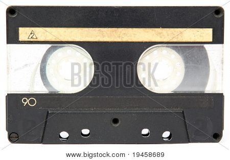 Old audio tape isolated on a white background