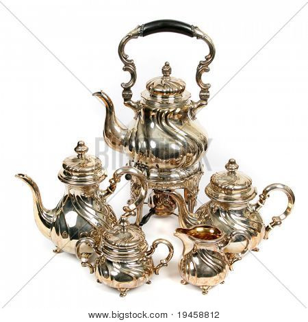 Teapots on white background