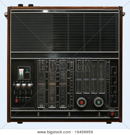 Old radio isolated over white