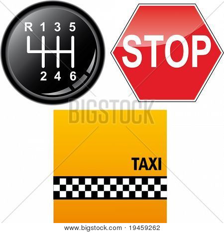 Car's gear stick, stop sign and taxi cab background
