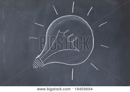 Lightbulb drawn on a blackboard symbolizing ideas