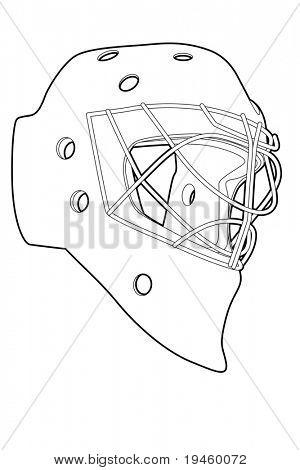 Umriss-Hockey-Maske auf weißem Hintergrund (Vektor-Illustration)