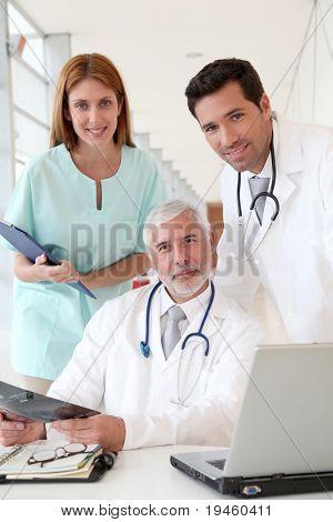 Medical team checking Xray