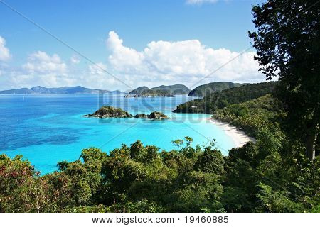 Breath-taking aerial view of Trunk Bay, St. John, U.S. Virgin Islands