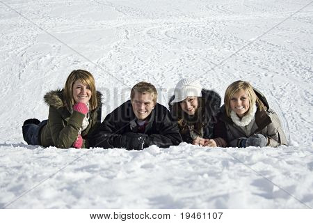 Young adults in the Snow