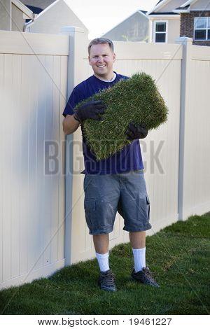 Yard work (Planting new sod)