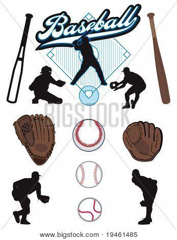 Uma coleção de elementos de beisebol ilustrado. Batts, bolas, atletas, luvas ou luvas