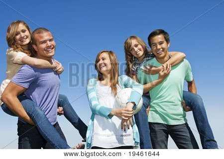 Multi-racial group Having Fun together