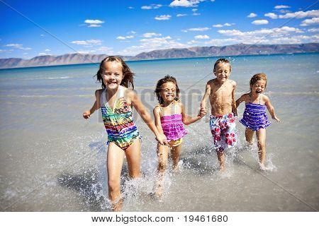 Children having Playing at the Beach