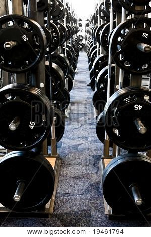 Long row of new weight training equipment at a gym