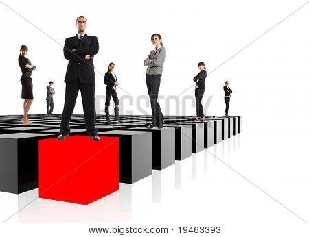 Metáfora de negocios - el equipo de la élite empresarial - muy fácil de integrar en su diseño