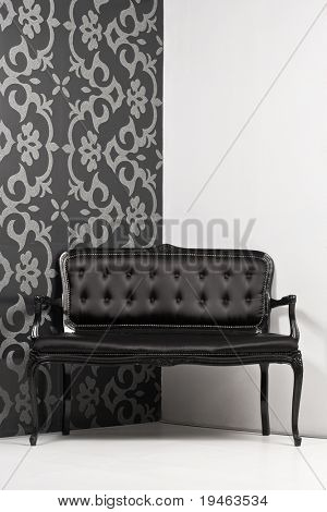 Couch in monochrome interior