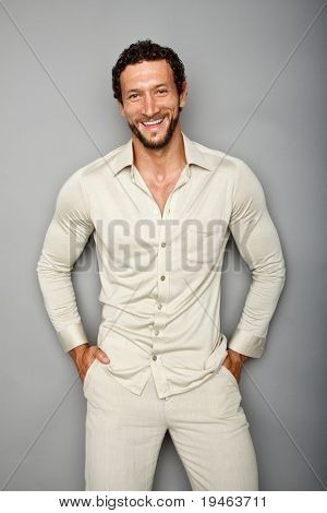 Dynamic image of a handsome man shot in studio