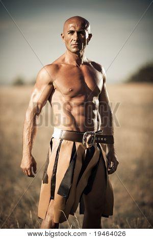 Gladiator en un campo