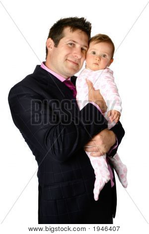 Young Businessman Cuddling His Baby Girl