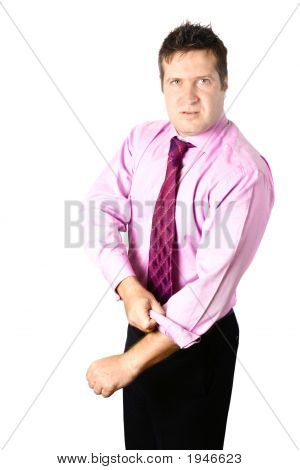 Businessman Ready To Fight Isolated