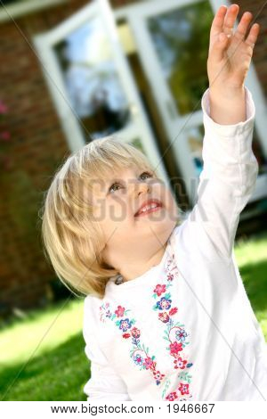 Girl Toddler Reaching Up High Outdoor