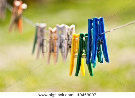 colored clothes pegs