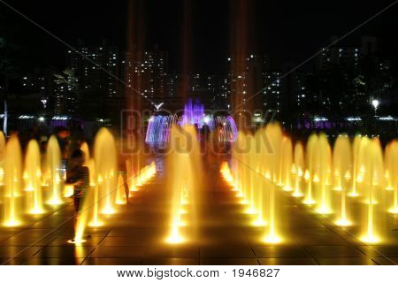Colorful Fountain At Night