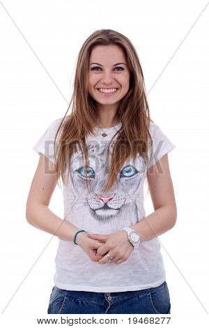 Woman Casual Portrait In Positive View