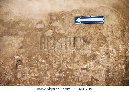 old wall with indication signal