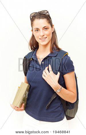 Jovem estudante feminino isolado no branco