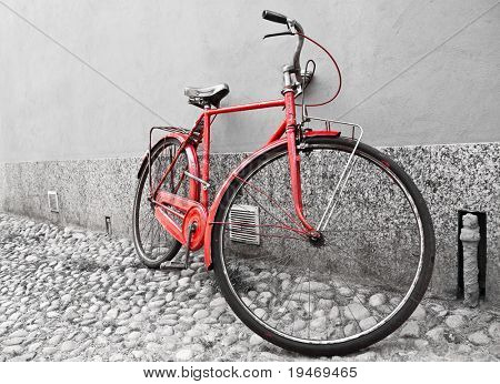 Old red bike selective colored